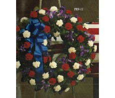 Traditional Floral Remembrance FR9-11 Patriotic Wreath