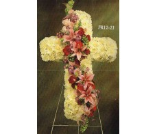 Traditional Floral Remembrance FR12-21 Standing Cross